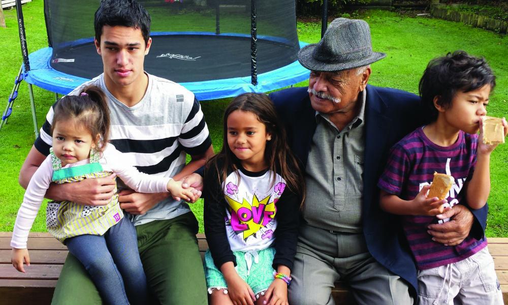 Uncle Api with mokopuna (L-R : Renata, Kuraunuhia, Karin and Umuariki on his 80th birthday at his home in Kaiti - 2014