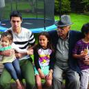 Uncle Api with mokopuna (L-R : Renata, Kuraunuhia, Karin and Umuariki on his 80th birthday at his home in Kaiti - 2014